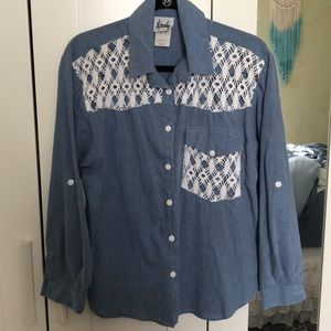 Vintage Lace Chambray Top